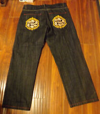 Men Size Waist 40 by 32 Long Refuse Denim Jeans w Embroidery NEW