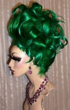 Drag Queen Wig Teased Dk. Green Medusa Ursula Up Do Wild Curls and French Twist