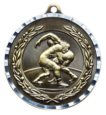 "Wrestling gold medal w/ silver edge engraving include, 2"" diam.  w/ neck ribbon"
