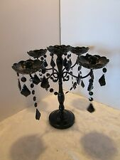 "Black 5 candle Candelabra Chandelier Metal Acrylic Crystal Droplets 14.5"" H Glam"