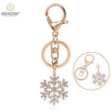 Women's Handbag Key Ring Charm Crystal Snowflake Pendant Multifunction Keychain