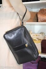 Vintage DUNHILL Black Calfskin Leather Wristlet Clutch Bag Unisex Men's