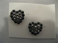 Rhinestone Hearts Pierced Earrings New On Card
