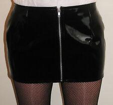 New Shiny pvc vinyl zip front mini skirt black red or white