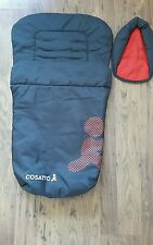 Cosatto pushchair reversable grey/ red warm footmuff and head holder