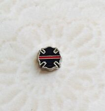Fallen Fire Fighter Badge With Thin Red Line Floating Charm For Memory Locket