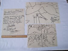 Three ORIGINAL works by Peter Max, Two Drawings, One Letter, Signed & Dated 1973