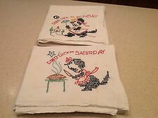 Vintage Embroidered Dish Towels Days of The Week Good Luck Cat 2 Saturday Sunday