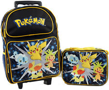 "Pokemon 16"" Large Roller Backpack Lunch Bag 2pc Rolling Bag"