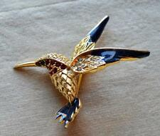 Unsigned BOUCHER Goldtone Enamel Rhinestones HUMMINGBIRD Pin Brooch #8997