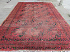 Large Antique Traditional Hand Made Afghan Oriental Faded Red Carpet 414x290cm