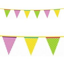 13ft Summer Garden Party Green Yellow Pink Plastic Pennant Banner Bunting