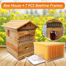 7 PCS Auto Honey Flow Beehive Hive Frames + 1 PC Beekeeping Brood Wooden House