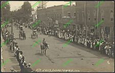 1912 RPPC Photo Postcard MAIN STREET JOHNSTOWN OHIO 4th of July PARADE Uncle Sam