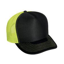 Wholesale Lot 1 Dozen 12 Blank Foam/Mesh Trucker Hats Neon Yellow Black