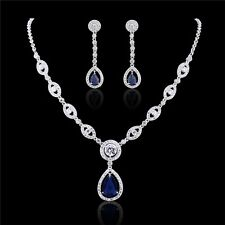 18K white gold filled Pear Sapphire/RoundTopaz Wedding Necklace Earring Sets