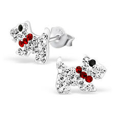 Children Girls 925 Sterling Silver Scottie Clear Crystal Dog Stud Earrings Boxed