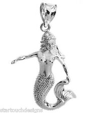 New .925 Sterling Silver 3-D Mermaid Pendant