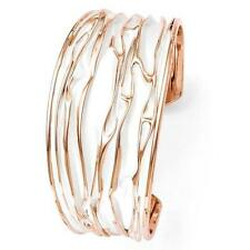 Rose Gold Sterling Silver Diamond Cut Twisted Cable Liquid Cuff Bangle Bracelet