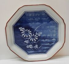Blue and White Porcelain Footed Plate Dish with Flowers Brown Trim Asian Signed