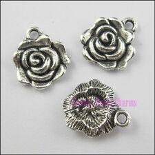 30Pcs Tibetan Silver Tone Rose Flower Charms Pendants 12x14mm