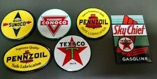 GAS / OIL signs..TEXACO SUNOCO PENNZOIL CONOCO..refrigerator magnets....Set of 6