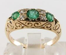 LARGE 9CT 9K GOLD COLOMBIAN EMERALD DIAMOND VICTORIAN INSP RING FREE RESIZE