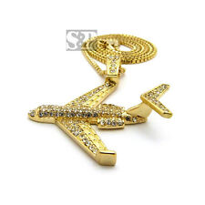 "Hip Hop Iced Out Rapper Fly Airplane Pendant 2mm 24"" Box Chain Necklace SPXTP41"