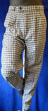 Houndstooth Rockabilly Cholo patchuco tapered pant woven 32 black White checker