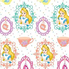 Alice in Wonderland Fabric - Teacups - White - 100% Cotton