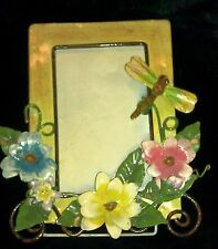 3-D Garden Flower Dragonfly Nursery Animal Figure Tin Photo Picture Frame #D4