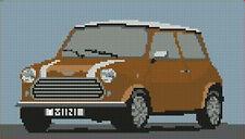 """Classic Mini Cooper Brown Cross Stitch Kit 10"""" x 5.7"""""""