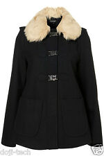 Topshop Navy Wool Fur Collar Hooded Emmie Clasp Short Duffle Swing Coat 10 38 6
