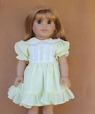 Doll Clothes fitting 18 in American Girl Yellow  Dress with Lace & Ribbon