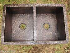 Copper RUSTIC Patina Double Well Undermount Kitchen Sink 33¨x22¨x10¨ 16 gauge