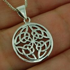 Small Round Celtic Knot Silver Pendant + Box Chain, Solid Sterling Silver
