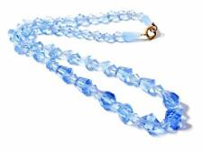 """16"""" vintage Czech necklace blue tin cut faceted bicone barrel cube glass beads"""