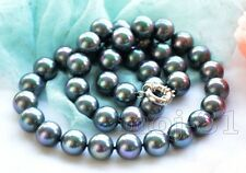 "10mm Peacock Black South Sea Shell Pearl Round Gemstone Necklace 18""AAA"