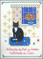 Cat at Home Sampler - complete cross stitch kit on 14 aida with COLOUR chart