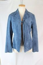 THINK TANK Suede Jacket Shirt MEDIUM Blue BOHO Brown Pick Stitch Tie Closure