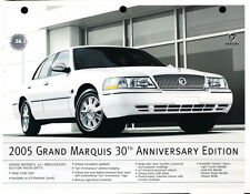 2005 Mercury Grand Marquis 30th Anniversary 1-page Car Sales Brochure Fact Card