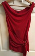 ESCADA Size 36 EU USA M  10-12 Draped Scoop Neckline RED  Belted  Top Shirt