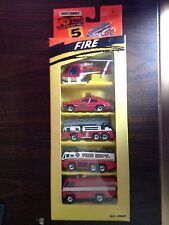NIB 1994 MATCHBOX FIVE PACK FIRE, HELECOPTER, RESCUE, CAR, TRUCKS