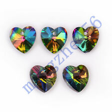 12pcs Colorized Glass Crystal Heart Shape Spacer Beads Jewelry Findings 14mm