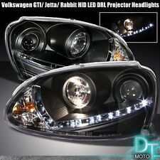 Black 2006-2009 VW GTI Jetta Rabbit HID Xenon LED DRL Strip Projector Headlights