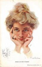 BG33586 philip boileau rings on her fingers woman  glamour nice artist signed