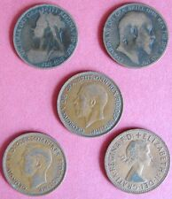 GREAT BRITAIN 5 OLD PENNIES, ONE FROM EACH MONARCH WHO RULED IN THE 20th CENTURY