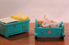Dollhouse Miniature small cradle and changing table. Plus a baby!  (D-254)