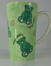 Kappa Delta Teddy Bear Hand Painted Tall Green Coffee Tea Cup Mug
