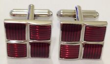 NOVELTY SILVER RED STRIPED SQUARES GRID MENS DRESS CUFF LINKS CUFFLINKS (#1046)